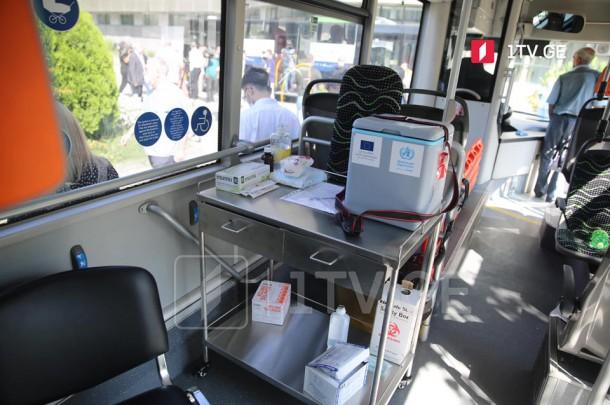 თბილისში, სამგზავრო ავტობუსებში ვაქცინაციის სივრცე მოეწყო
